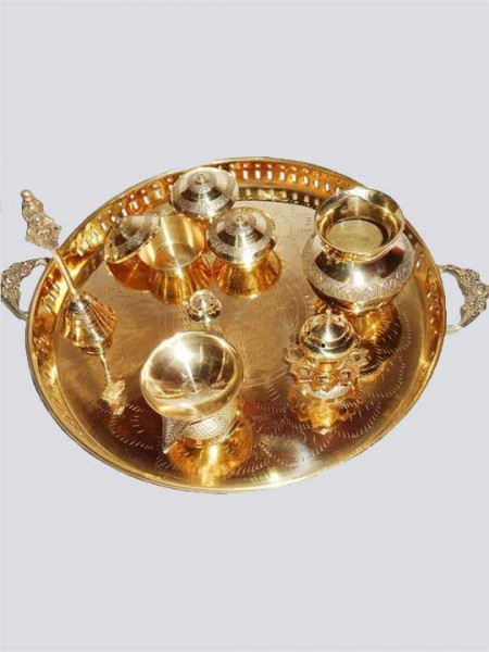 Antique Traditional Brass Pooja Thali