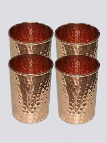 Traditional Pure Copper Hammered Glasses Pack of 4