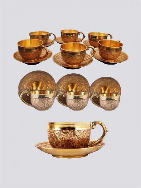 Brass Tea Set Pack of 6 Cup & Saucers Set (Copper Antique -Work)