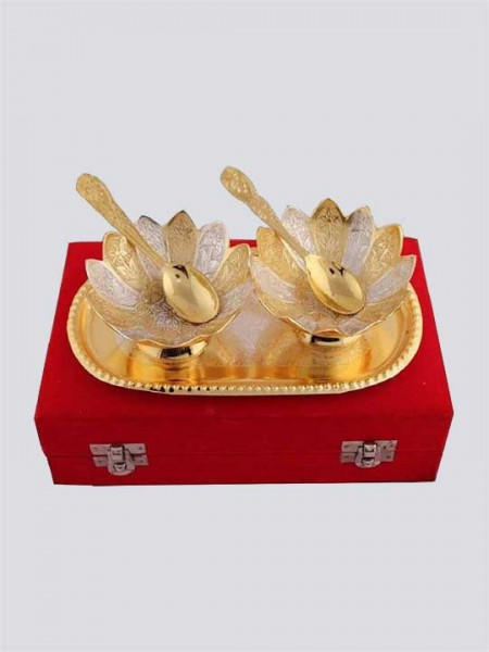 Gold & Silver Plated Floral Shaped Brass Bowl Set of 5 Pcs