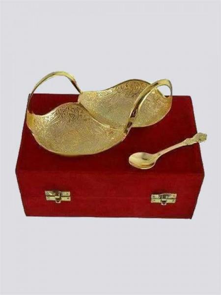 Gold Plated Brass Decorative Duck Shaped Bowl Set (Mughlai Work)