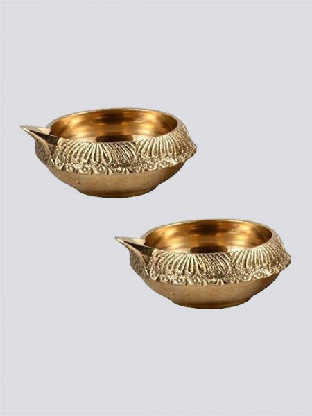 Handmade Engraved Design Indian Puja Brass Diya