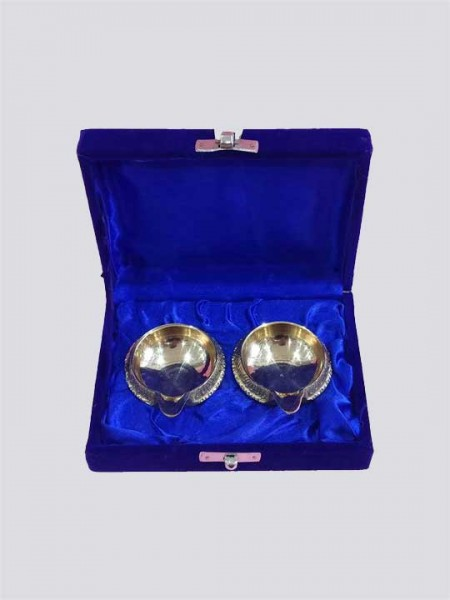 Gift Set Handmade Engraved Design Indian Puja Brass Diya
