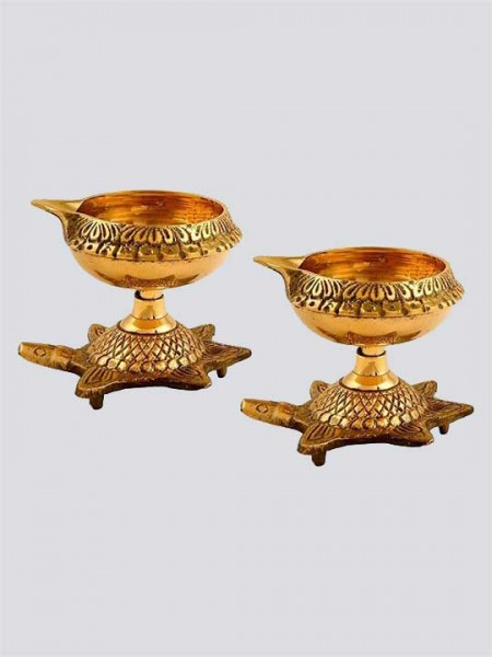 Handmade Engraved Design Indian Puja Brass Diya with Turtle Base