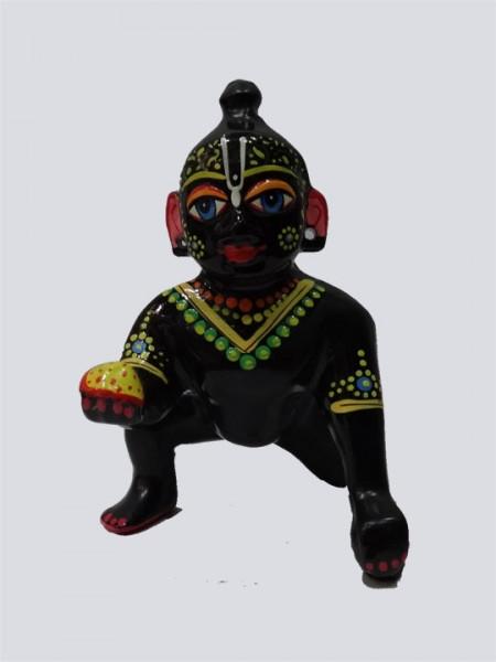 Black Hand Painted Lord Laddu Gopal Ball Thakur Ji Brass Statue