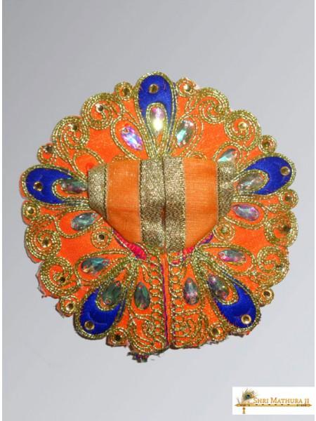 Laddu Gopal Ji Embroidery Mor Pankh Orange Dress/Poshak