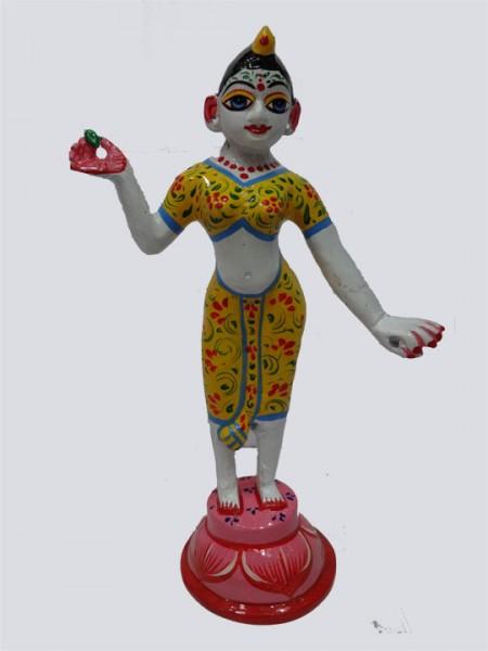 Radha Rani Full Yellow Hand Painted Brass Idol and Statue