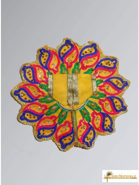 Laddu Gopal Ji Embroidery Shankh Yellow Dress/Poshak