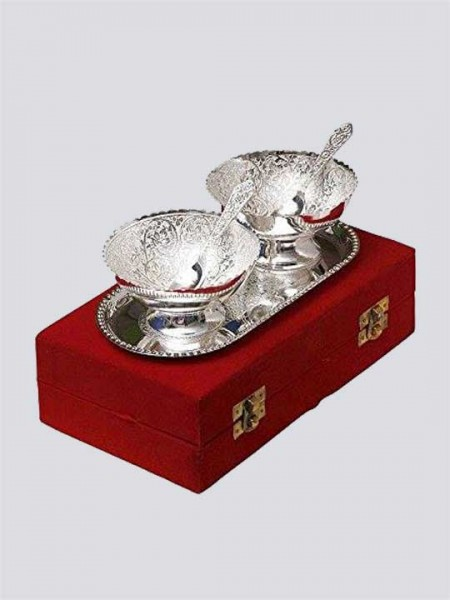 Silver Plated Brass Bowl Set of 5 Pcs (Embossed-Work)