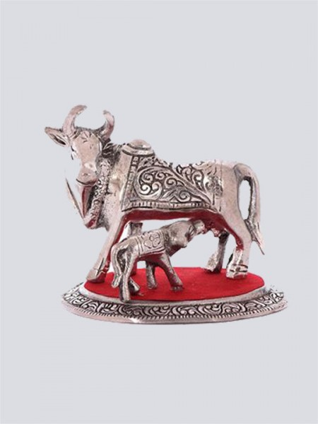 White Metal Cow and Calf
