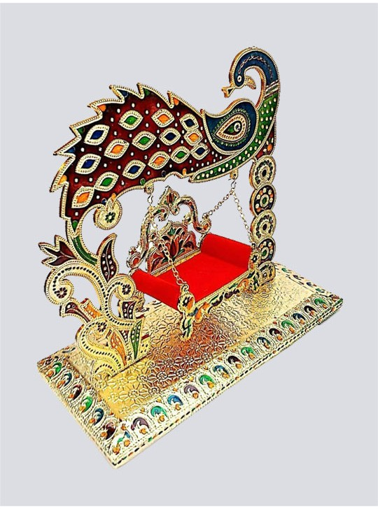 Laddu Gopal jhula Special Peacock Design Luxury Look Antique Piece