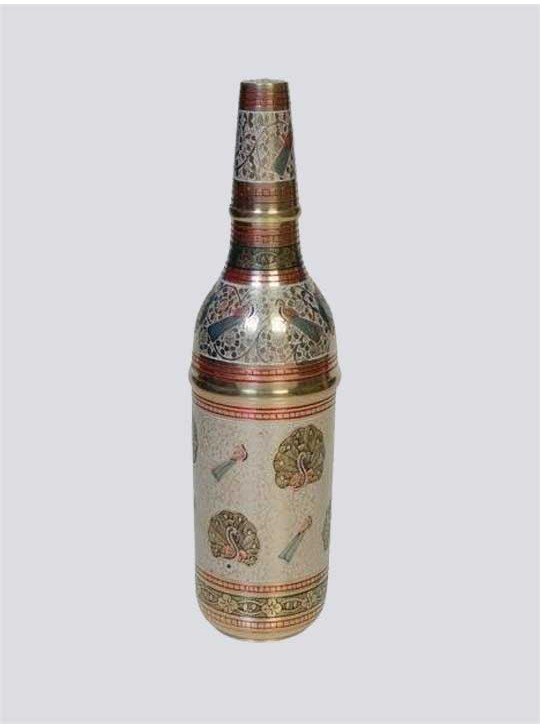Brass Wine Bottle box with Nakkashi Bidri Work