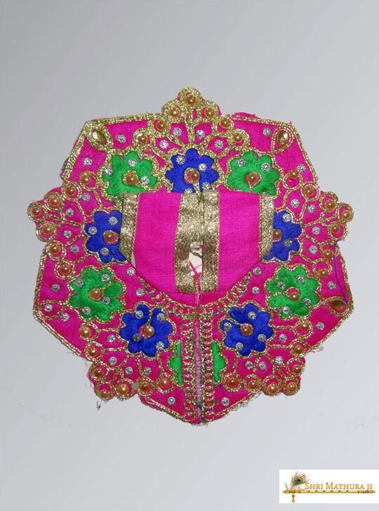 Laddu Gopal Ji Embroidery Flower Pink Dress/Poshak Size - 1