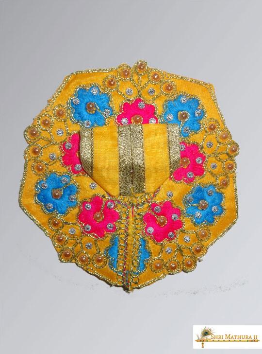 Laddu Gopal Ji Embroidery Flower Yellow Dress/Poshak Size - 2, 5