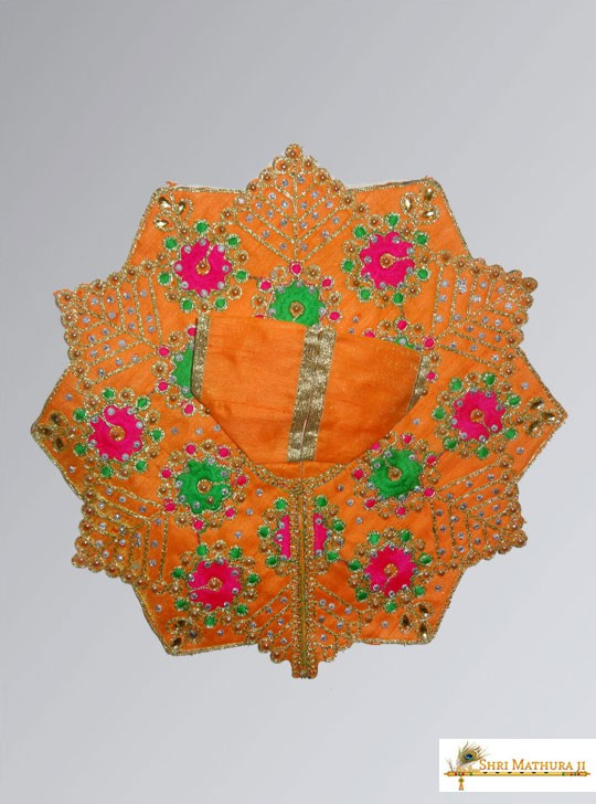 Laddu Gopal Ji Embroidery Flower Orange Dress/Poshak Size - 4, 6