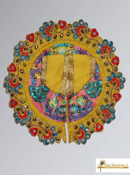 Laddu Gopal Ji Embroidery Design Yellow Dress/Poshak