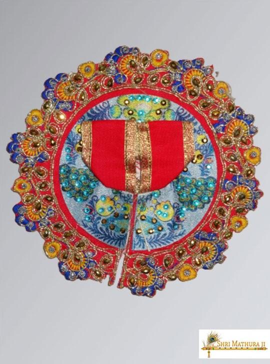 Laddu Gopal Ji Embroidery Design Red Dress/Poshak