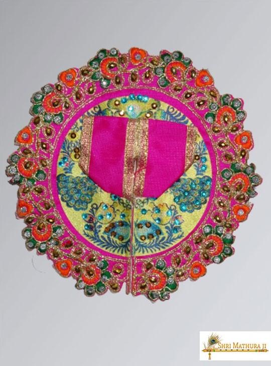 Laddu Gopal Ji Embroidery Design Pink Dress/Poshak