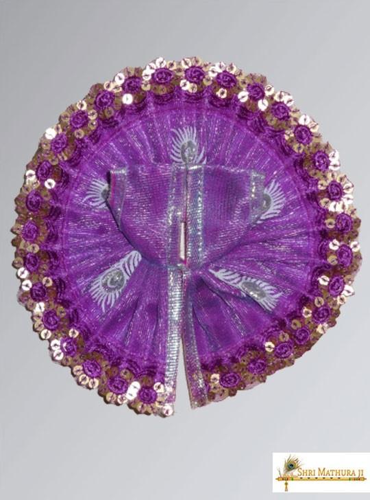 Laddu Gopal Ji Fancy Designer Net Purple Dress/Poshak