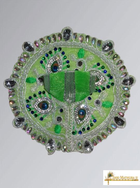 Laddu Gopal Ji Fancy Designer Net Fabric Green Dress/Poshak