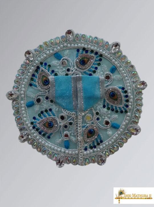 Laddu Gopal Ji Fancy Designer Net Fabric Blue Dress/Poshak