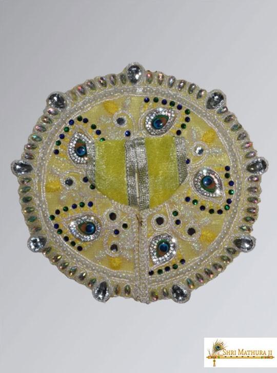 Laddu Gopal Ji Fancy Designer Net Fabric Yellow Dress/Poshak