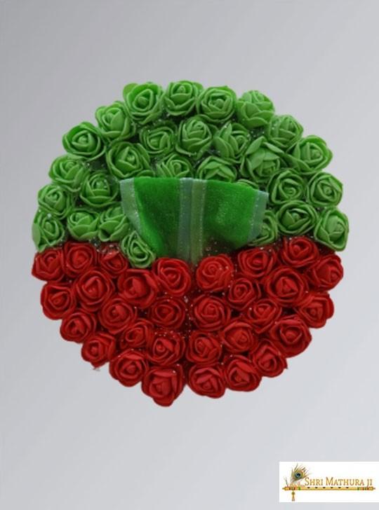 Laddu Gopal Ji Green & Red Roses Fancy Dress/Poshak