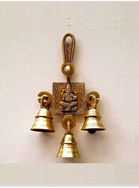 Ganesha Wall Hanging Gift Statue with 3 Bells