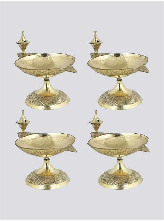 Indian Brass Puja Diya and Incense Holder Set
