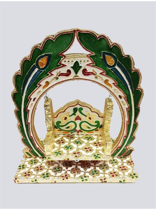 Jaipuri Meenakari Wooden Handcrafted Decorated More Pankh Laddu Gopal Jhula
