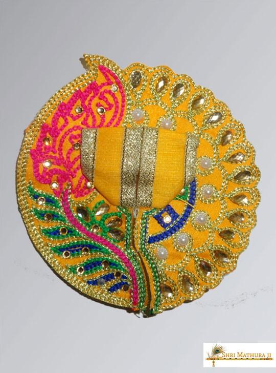 Laddu Gopal Ji Leaf with Moti Yellow Dress/Poshak, Size - 1