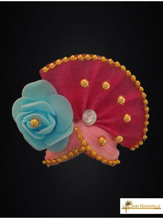 Laddu Gopal Ji Ribbon and Zari Work Multi Color Mukut Pagadi