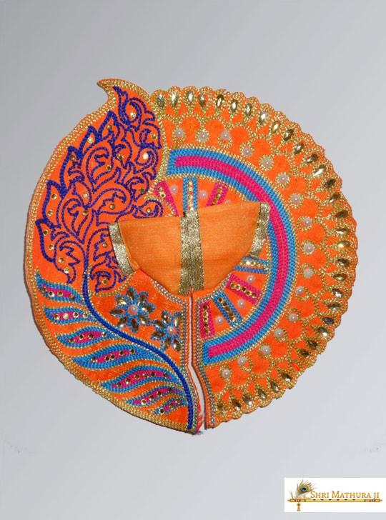 Laddu Gopal Ji Leaf with Moti Orange Dress/Poshak, Size - 4