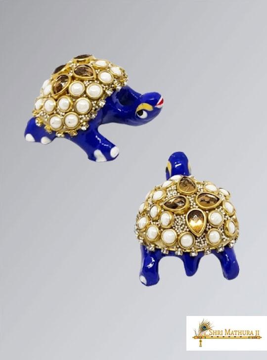Pair of Blue Tortoise Toys for Laddu Gopal Ji Meena Work