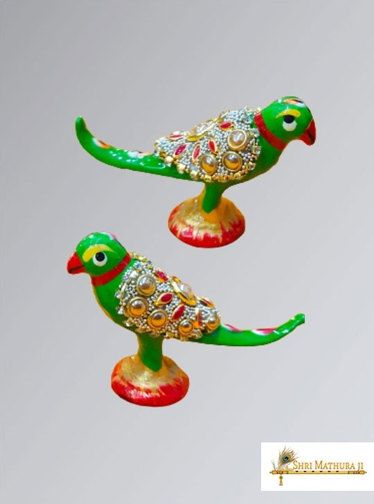 Pair of Green Parrot Toys for Laddu Gopal Ji Meena Work