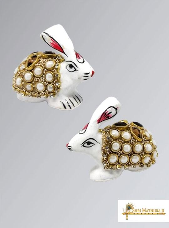 Pair of White Rabbit Toys for Laddu Gopal Ji Meena Work