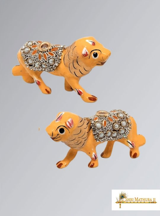 Pair of Yellow Lion Toys for Laddu Gopal Ji Meena Work