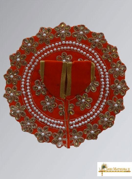 Laddu Gopal Ji Fancy Design Velvet Orange Dress/Poshak