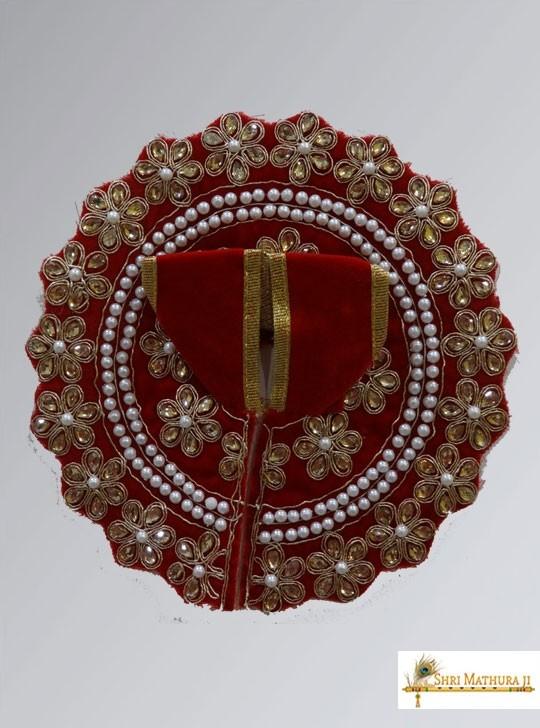 Laddu Gopal Ji Fancy Design Velvet Red Dress/Poshak