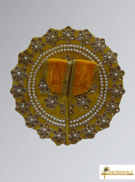 Laddu Gopal Ji Fancy Design Velvet Yellow Dress/Poshak