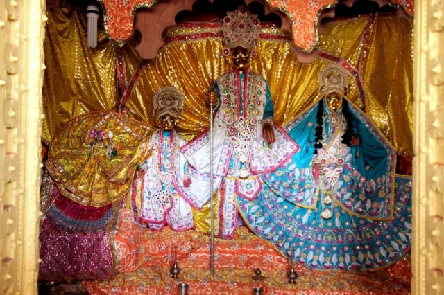 Shri Kirti Mata Ji Vrishbhanu Baba and Sridama at Barsana Temple