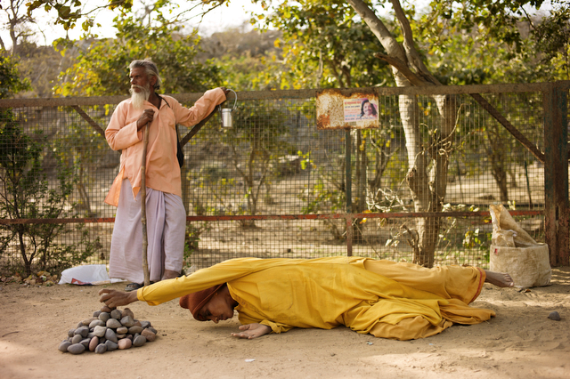Krishna devotees prostrate during the Parikrama around Govardhan, India, March 14, 2012.