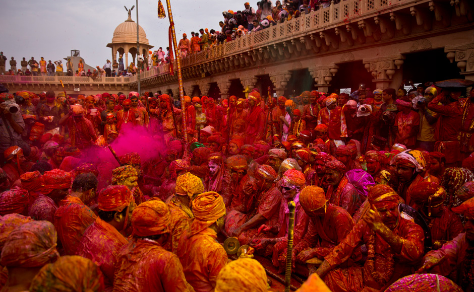 Lathmar Holi at Barsana temple Mathura
