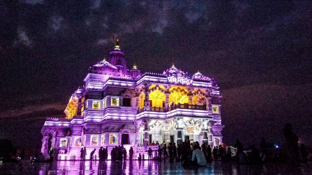 Prem Mandir Vrindavan Night View