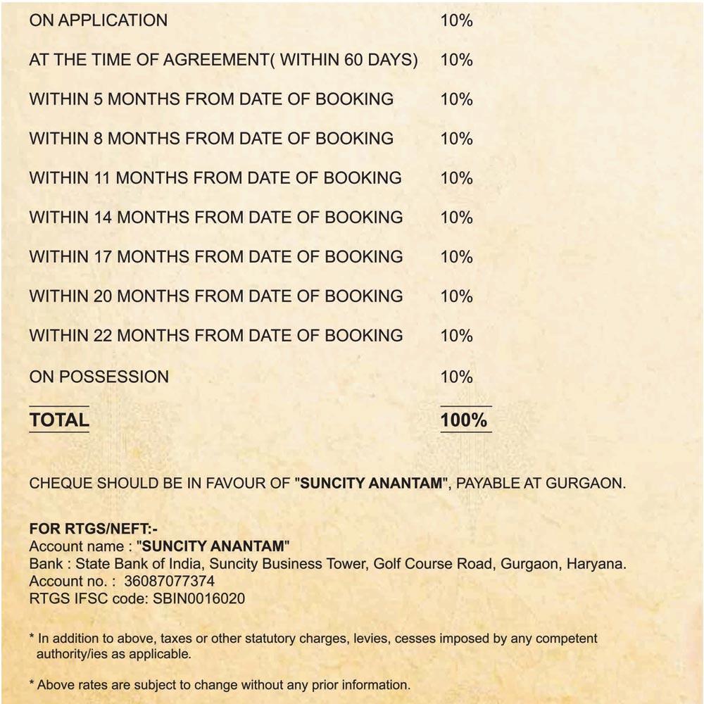 Suncity Anantam Payment Plan