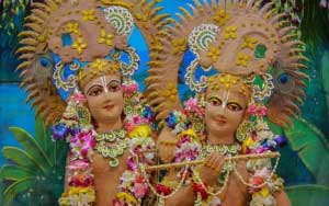 Shri Krishna & Balaram Ji Sringar at Akshaya Tritiya Iskcon Temple Vrindavan